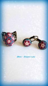 anello e orecchini in fimo fiore bordeaux